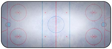 hockey sobre cesped: Una vista a�rea de una pista de hockey sobre hielo completan con las marcas.