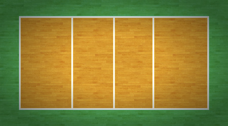 overhead view: An overhead view of a volleyball court complete with markings.