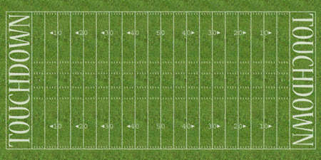 bleachers: An overhead view of an american football field with white markings painted on grass.