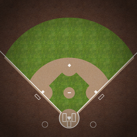 diamond plate: An overhead view of an american baseball field with white markings painted on grass and gravel.