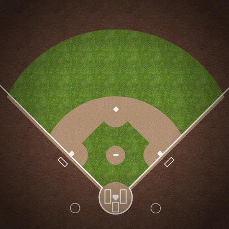 campo de beisbol: Una vista aérea de un campo de béisbol americano con marcas blancas pintadas en la hierba y la grava.