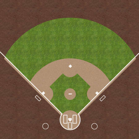 overhead view: An overhead view of an american baseball field with white markings painted on grass and gravel.