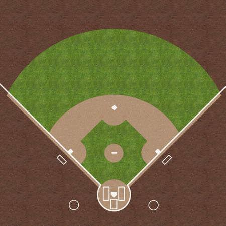 En översiktsvy av en amerikansk baseball området med vita tecken målade på gräs och grus. Stockfoto