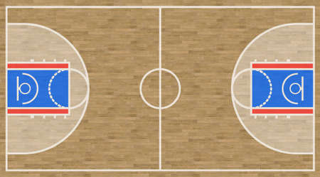 An overhead view of a basketball court complete with markings. Imagens