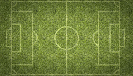 copy center: An overhead view of a football soccer pitch with white markings painted on grass.