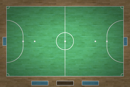 An overhead view of a futsal court complete with markings. photo