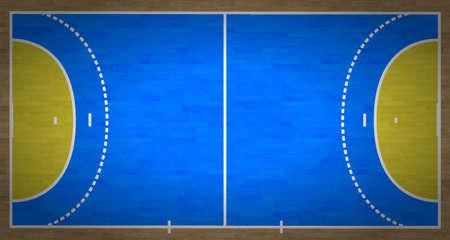 terrain de handball: Une vue a�rienne d'un terrain de handball compl�ter avec des marques.