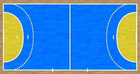 handball: An overhead view of a handball court complete with markings.