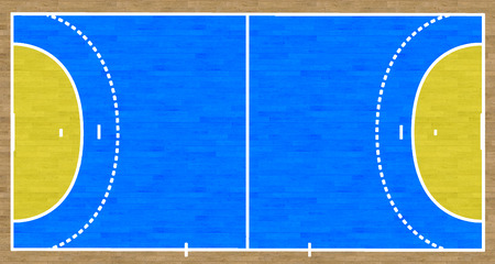 terrain de handball: Une vue aérienne d'un terrain de handball compléter avec des marques.