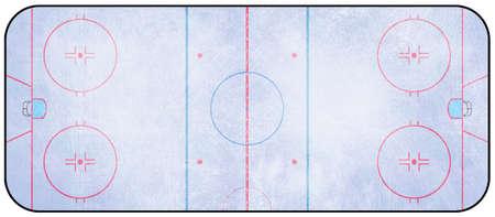 Una vista aérea de una pista de hockey sobre hielo completan con las marcas.