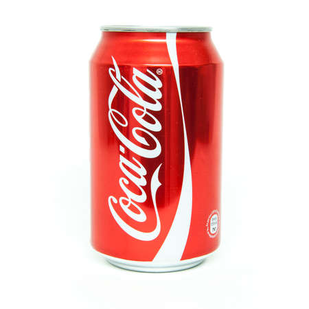 HELSINGBORG, SWEDEN - January 21, 2014: 0,33l Coca-Cola can Isolated On White Background. Coca-Cola is a carbonated soft drink sold in shops, restaurants, and vending machines around the globe.