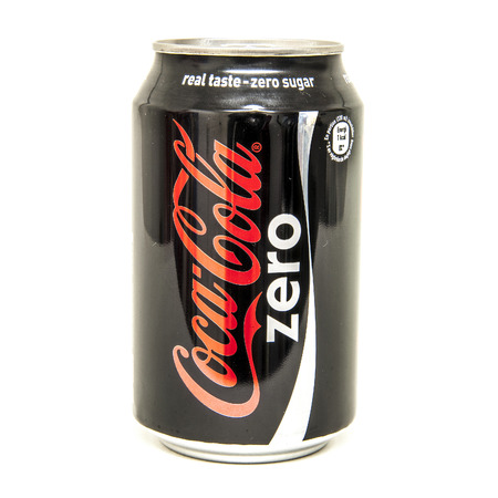 HELSINGBORG, SWEDEN - January 4th: A 0,33l can of Coca-Cola Zero Isolated On White Background. Coca-Cola is a carbonated soft drink sold in shops, restaurants, and vending machines around the globe.