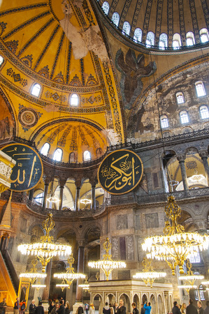 byzantium: ISTANBUL, TURKEY - APRIL 10: Hagia Sophia - ancient basilica on April 10, 2011 in Istanbul, Turkey. For almost 500 years the principal mosque, Hagia Sophia served as a model for many other mosques.