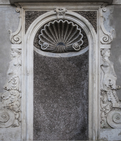 niche: An empty niche that would normally hold a statue situated within the Roman Forum grounds in Rome, Italy. Stock Photo