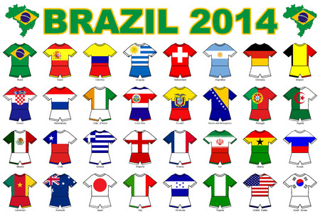finals: A collection of kit shaped flags of all of the national soccer teams competing at the 2014 football finals in Brazil.