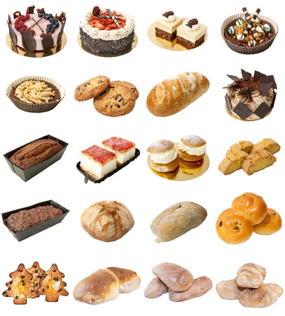 A selection of freshly baked bread, baps and cakes isolated on a white background. photo