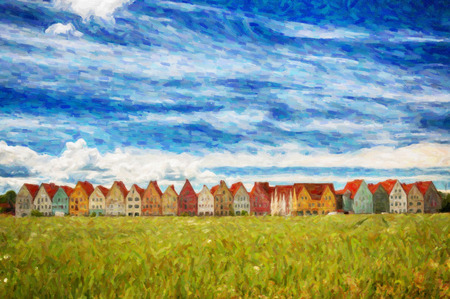 A digital painting of Jakriborg, a new classical housing project built in the municipality of Staffanstorp in the Skane region of southern Sweden. photo