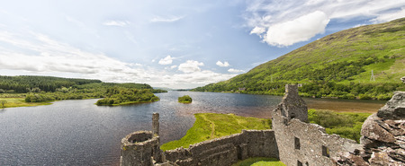 awe: A panoramic image of Loch Awe as viewed from Kilchurn , a ruined 15th century structure on the banks of Loch Awe, in Argyll and Bute, Scotland.