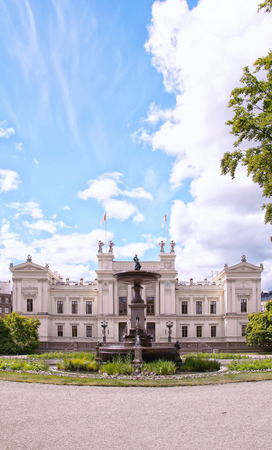 sweden resting: A very old and grand white building on the campus grounds of Lund university in Sweden. Editorial