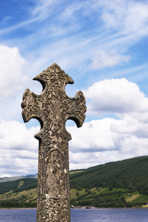 mercat: A very old and decorative celtic cross on the banks of Loch Fyne at Inveraray in Scotland. Stock Photo