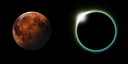 protuberances: A total solar and Lunar eclipse side by side.