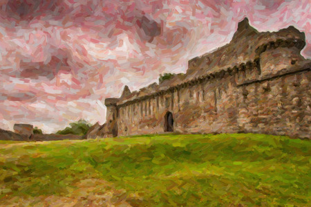 dilapidated wall: A digital painting of Craigmillar Castle ruins in the Scottish capital city of Edinburgh.