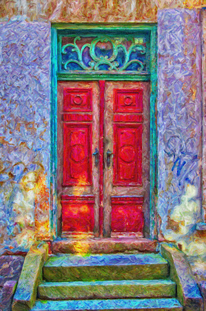 A digital painting of an old red door in a green doorway both of which have seen better days. photo