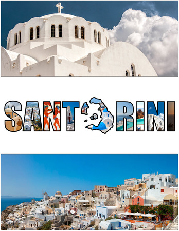wider: A collage of various images from the Greek paradise island of Santorini. Cropped to the ever growing popular 2,33:1 aspect ratio ideal for todays wider screen monitors.