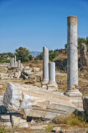 colonnaded: Part of the columnated street ruins that lie in the town of Side in Turkey.