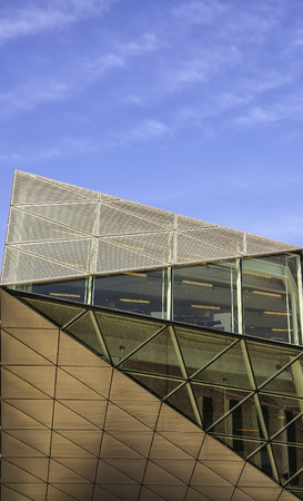 A close up view of the detail on a modern building. photo