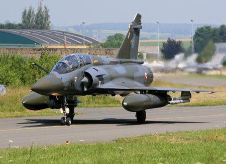 afterburner: Returning form mission Mirage 2000D Stock Photo