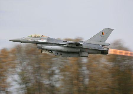 afterburner: F16 A MLU Belgian in Full Afterburner Florennes AFB Belgium