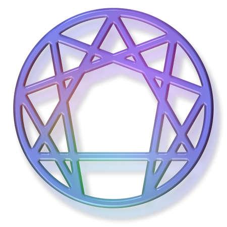 forth: enneagram sacred symbol of the forth way, 3d gelaqua effect.