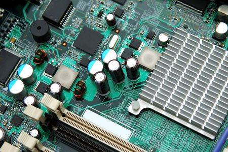 Part of motherboard with semiconductor components Stock Photo - 597355