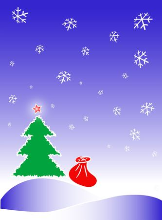 ecard: Merry Christmas and New Year illustration. Fir-tree, sack with gifts, ster and snowflakes drawing in the blue cold sky.