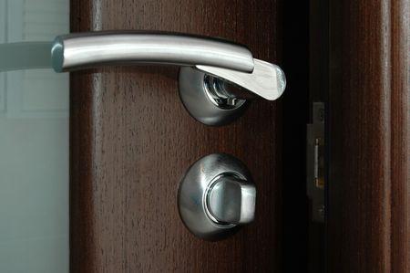 door with handle and matt glass