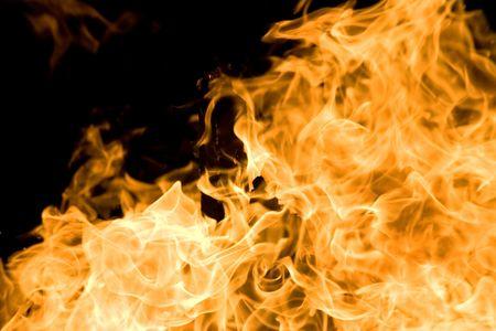 Night photo of bonfire. Flame close-up. Stock Photo - 1228945