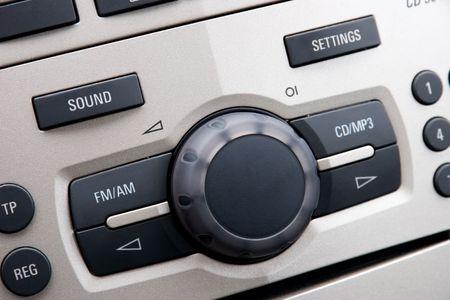 Modern Car Audio Control System, Close-Up Photo
