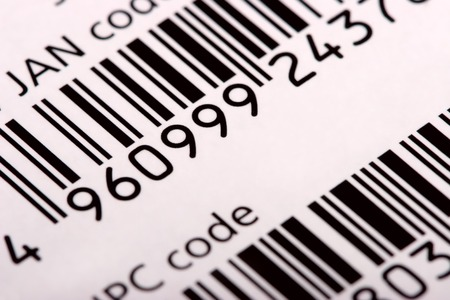 Barcode (JAN and UPC), diagonal view, close-up photo