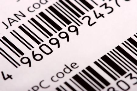Barcode (JAN and UPC), diagonal view, close-up photo Stock Photo - 1379582