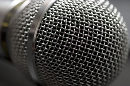 podcasting: Microphone head (grille) close-up shot