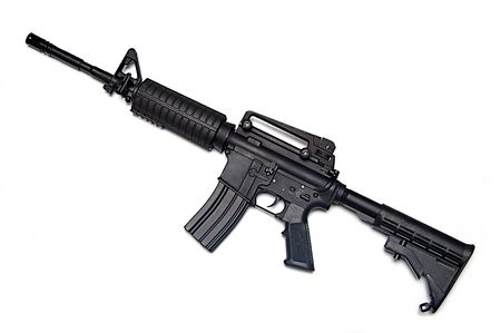 Modrn weapon. US Army M4A1 rifle. Object isolated on white backgound. Stock Photo