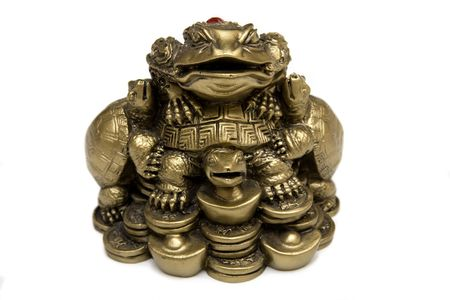 Feng Shui Bronze Frog On Chinese Coins. photo