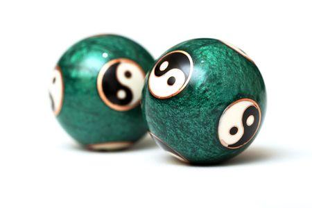 Ying Yang Balls, isolated on white background.