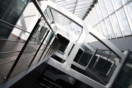 Modern office building interior. Tilt view.