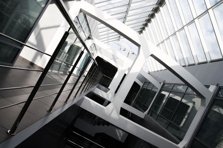 Modern office building interior. Tilt view.