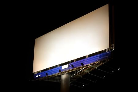 Blank billboard in the night