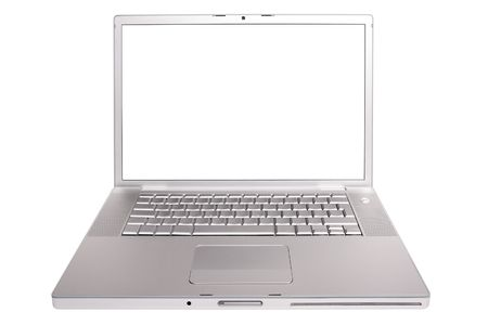 Modern hi-tech aluminium laptop with empty screen isolated on white background.