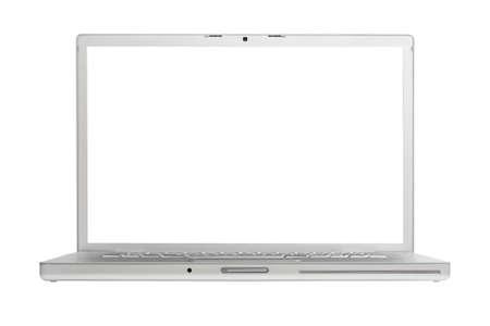 highend: Alluminio high-end portatile isolato su sfondo bianco con schermo vuoto.