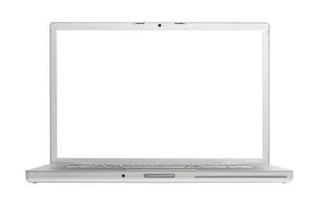 laptop isolated: Port�til de high-end de aluminio aislada sobre fondo blanco con la pantalla en blanco.